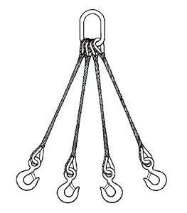 Picture of Quad Leg Wire Rope Slings - Stainless Steel Type 302 & 304 IWRC